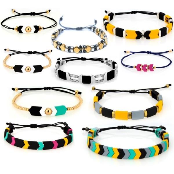 12pcs 24k Plaqué Or 2 Deux trous Triangle Zamak Métal Grec Curseur Perle Perlant Bracelet à perles 3 - Photo n°2