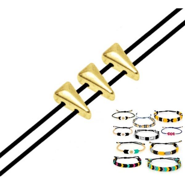 12pcs 24k Plaqué Or 2 Deux trous Triangle Zamak Métal Grec Curseur Perle Perlant Bracelet à perles 3 - Photo n°1