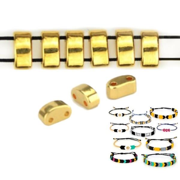 12pcs 24k Plaqué or 2 Deux trous Twin ovale Zamak métal grec curseur perle perle bracelet perle 3 x - Photo n°1
