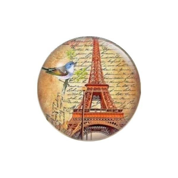 1 cabochon rond en verre 25 mm VINTAGE OISEAU TOUR EIFFEL ECRITURE PARIS - Photo n°1