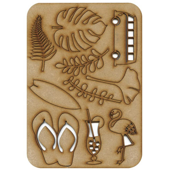 Planche de formes en bois - Summer - 21 x 15 cm - Photo n°1