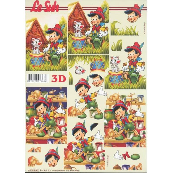 Feuille 3D à découper A4 Pinocchio - Photo n°1