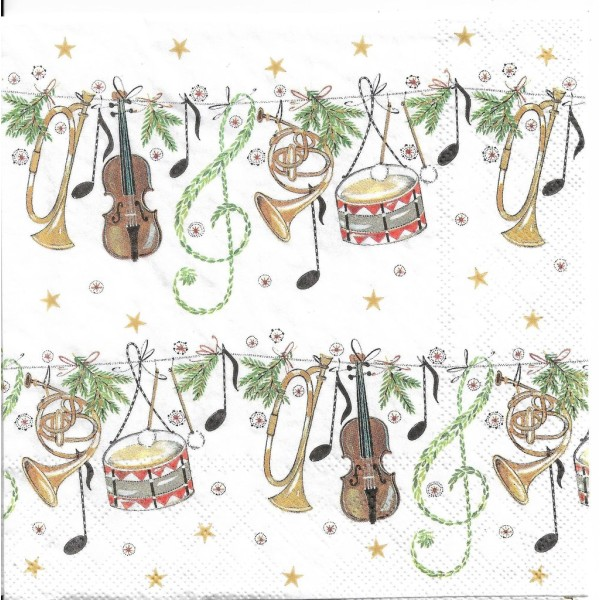 4 Serviettes en papier Musique de Noël Format Lunch Decoupage Decopatch 2572-5882-55 Stewo - Photo n°1