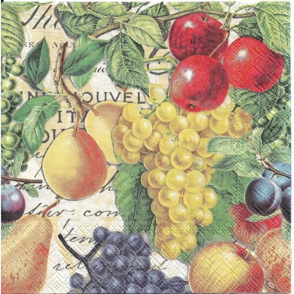 4 Serviettes en papier Fruits d'Automne Raisin Pommes Format Lunch Decoupage 13314480 Ambiente - Photo n°1