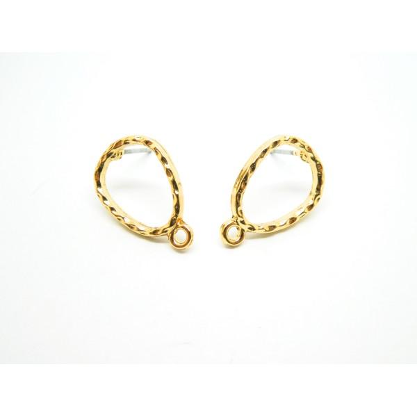 Paire boucles d'oreilles puce goutte martelé 17*11mm, avec boucle, doré - Photo n°1