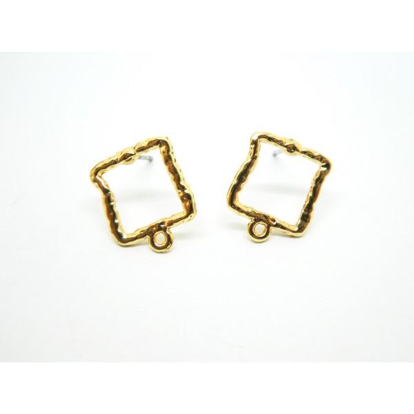 Paire boucles d'oreilles puce carré martelé 14*12mm, avec boucle, doré - Photo n°1