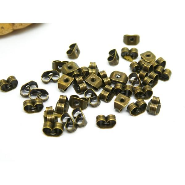 20 Poussoirs pour clous d'oreilles 5*4mm bronze - Photo n°1