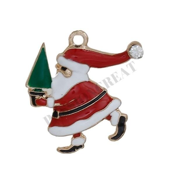 Père Noël Émaillé 2 Breloques 24x23mm - Photo n°1