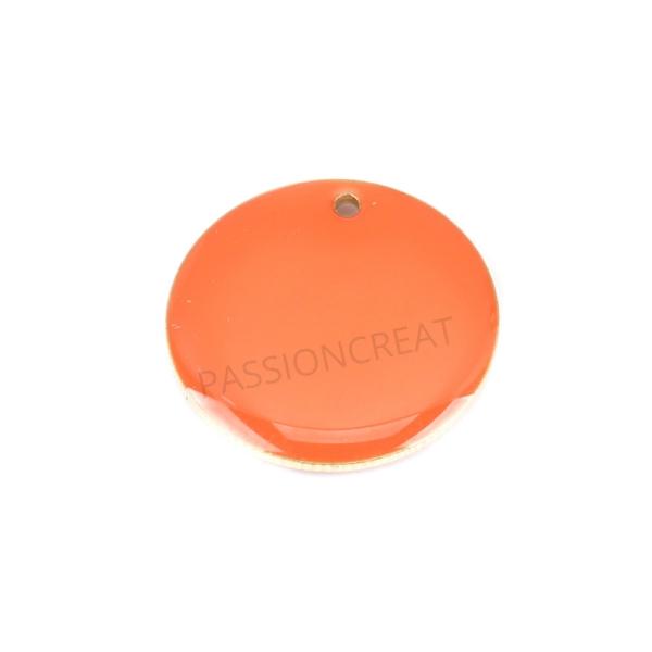 Sequins Rondes Orange Foncé 20 mm 2 Breloques - Photo n°1