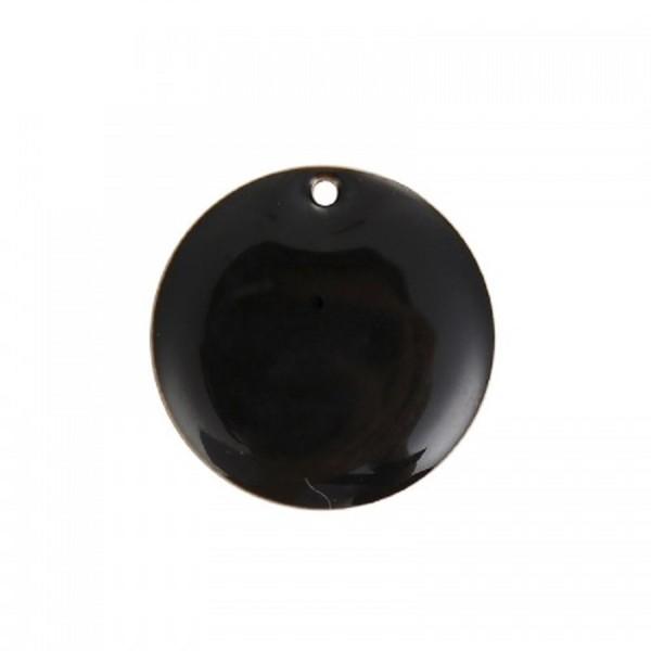 Sequins Rondes Noir 20 mm 2 Breloques - Photo n°1