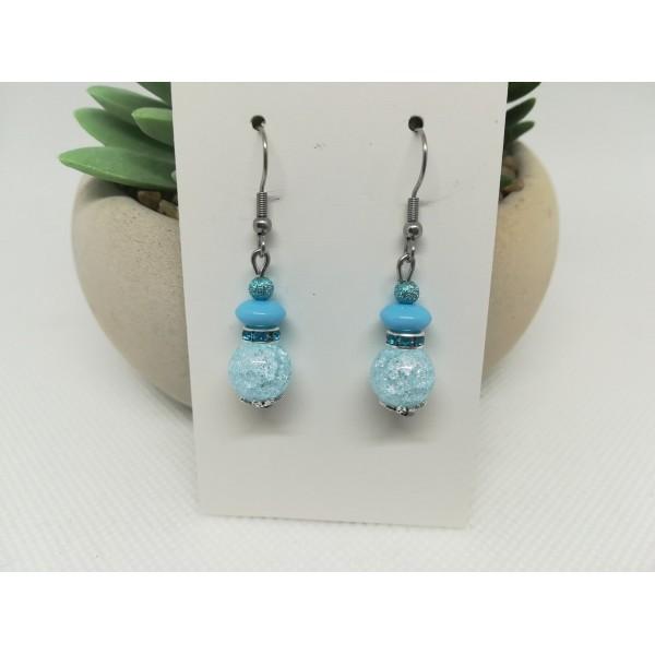 Kit boucles d'oreilles perles quartz craquelé et rondelle strass bleu ciel - Photo n°2