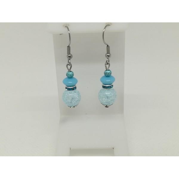 Kit boucles d'oreilles perles quartz craquelé et rondelle strass bleu ciel - Photo n°3