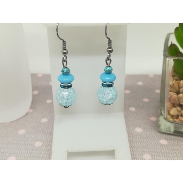 Kit boucles d'oreilles perles quartz craquelé et rondelle strass bleu ciel - Photo n°1
