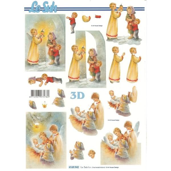 Feuille 3D à découper A4  Naissance Noël 4169-942 - Photo n°1