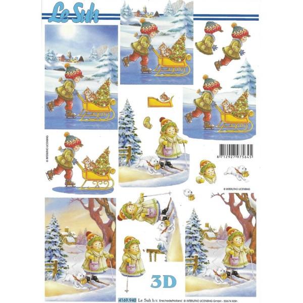 Feuille 3D à découper A4 Enfant Ski Patin Chat Chien 4169-940 - Photo n°1