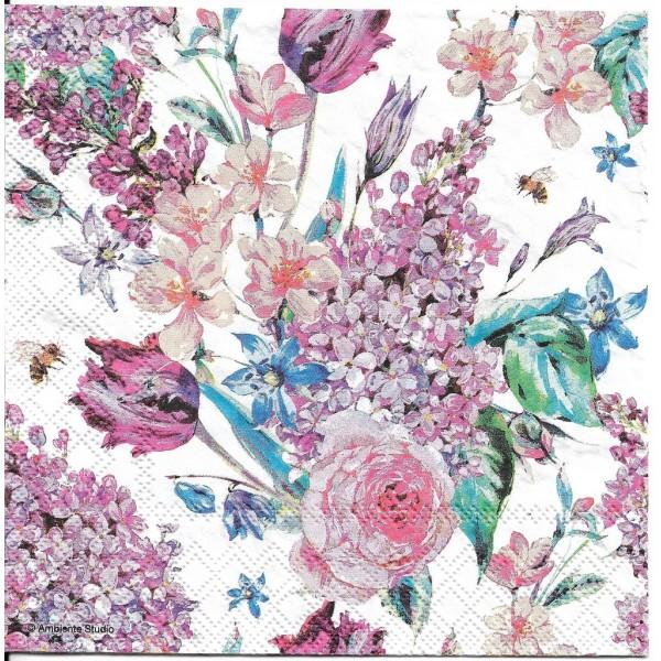 4 Serviettes en papier Composition Florale Lilas Format Lunch Decoupage Decopatch 13311180 Ambiente - Photo n°1