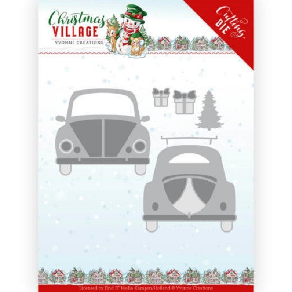 Matrice de découpe Yvonne Creations Christmas Village - Christmas car - Photo n°1