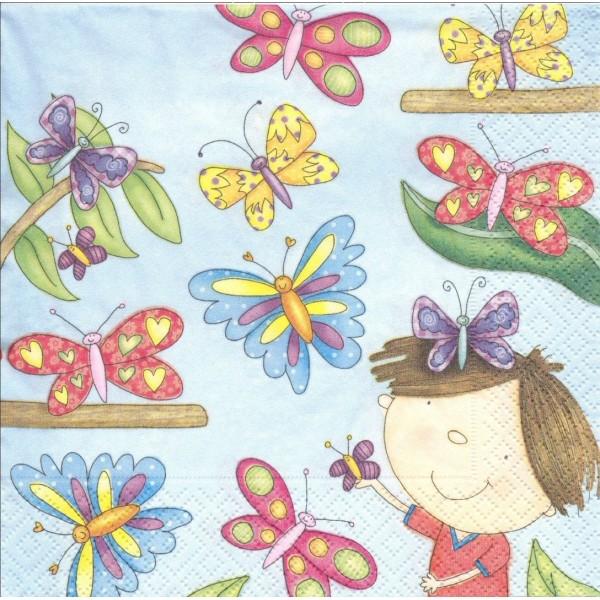 4 Serviettes en papier Papillon Fillette Format Lunch Decoupage LN0747 Colourful Life - Photo n°1