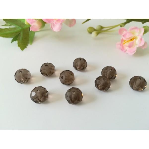 Perles en verre 10 x 8 mm à facette marron taupe x 10 - Photo n°1