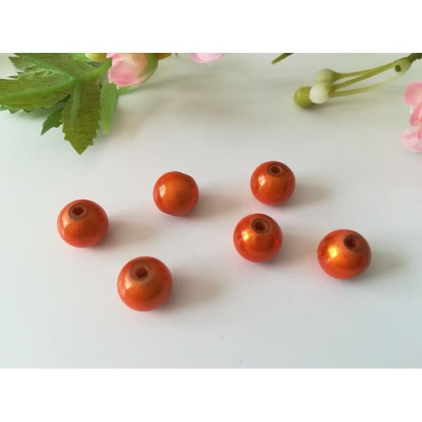 Perles magiques 10 mm orange x 6 - Photo n°1