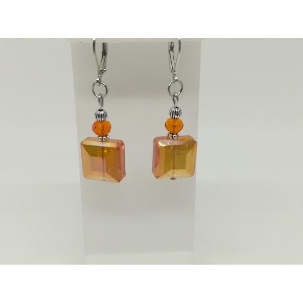 Kit boucles d'oreilles perles électroplate carré orange - Photo n°2