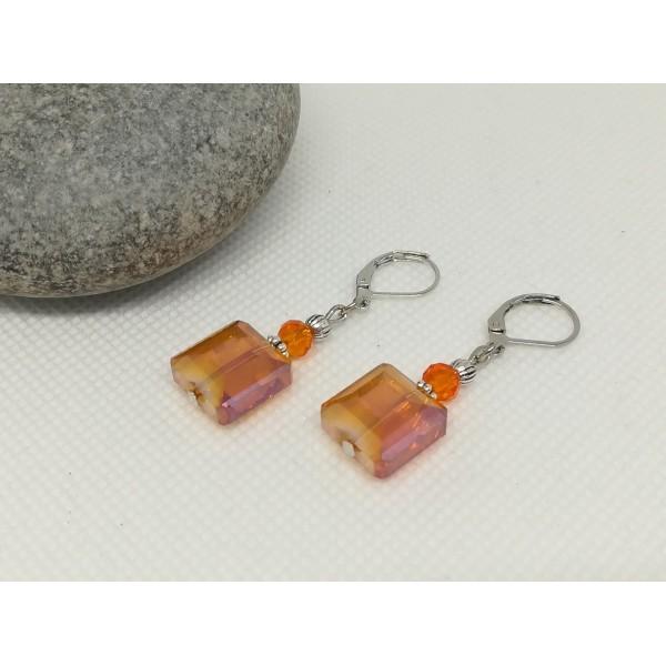 Kit boucles d'oreilles perles électroplate carré orange - Photo n°3