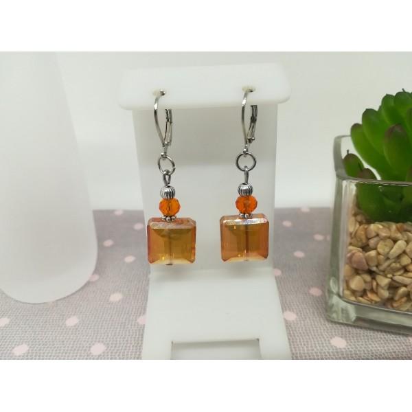Kit boucles d'oreilles perles électroplate carré orange - Photo n°1