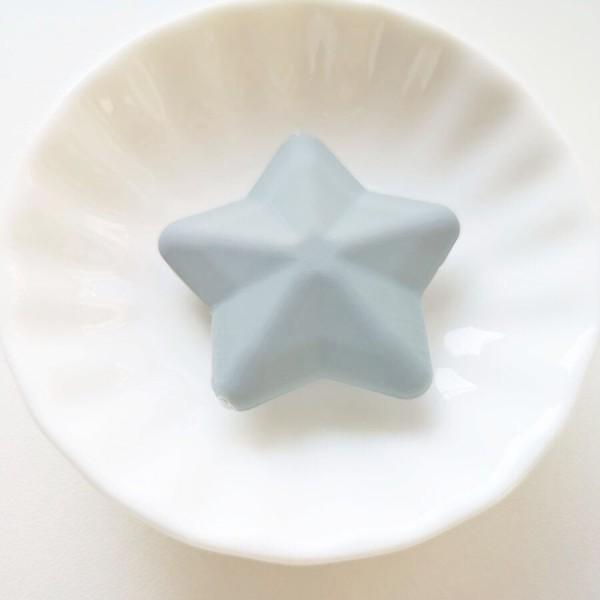 Perle Silicone Etoile Gris 38mm Creation bijoux - Photo n°1