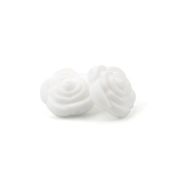 Perle Silicone Fleur Blanc 20mm x 20mm Creation bijoux - Photo n°1