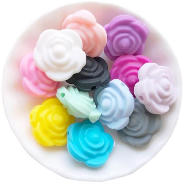 Perle Silicone Fleur Bleu 20mm x 20mm Creation bijoux - Photo n°2