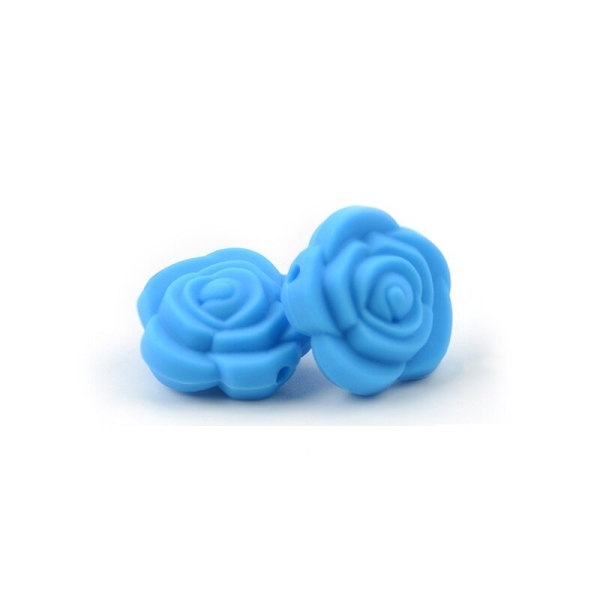 Perle Silicone Fleur Bleu 20mm x 20mm Creation bijoux - Photo n°1