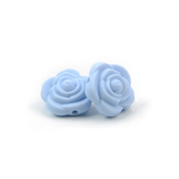 Perle Silicone Fleur Bleu Clair 20mm x 20mm Creation bijoux - Photo n°1