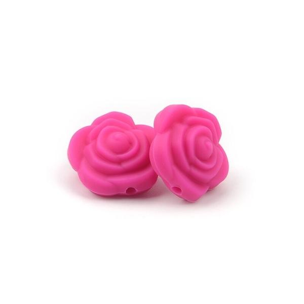 Perle Silicone Fleur Fuchsia 20mm x 20mm Creation bijoux - Photo n°1
