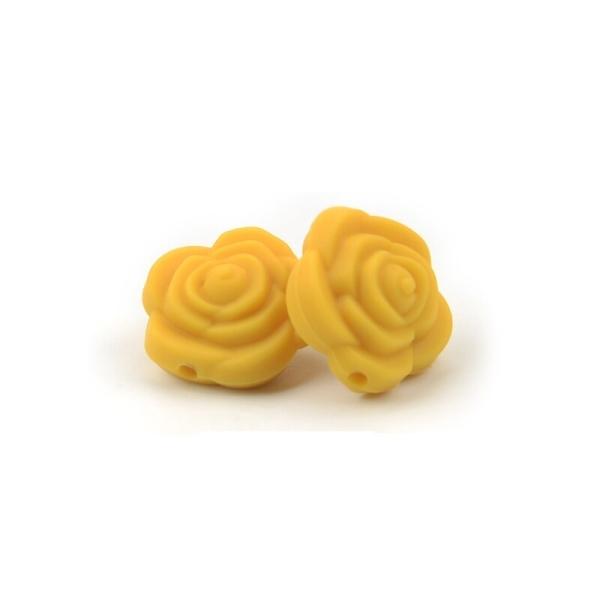 Perle Silicone Fleur Jaune 20mm x 20mm Creation bijoux - Photo n°1