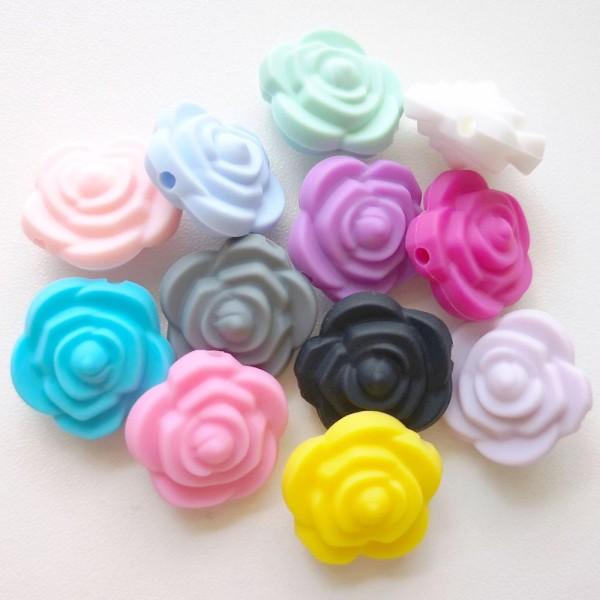 Perle Silicone Fleur Noir 20mm x 20mm Creation bijoux - Photo n°2
