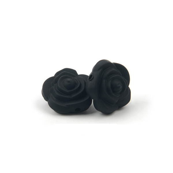 Perle Silicone Fleur Noir 20mm x 20mm Creation bijoux - Photo n°1