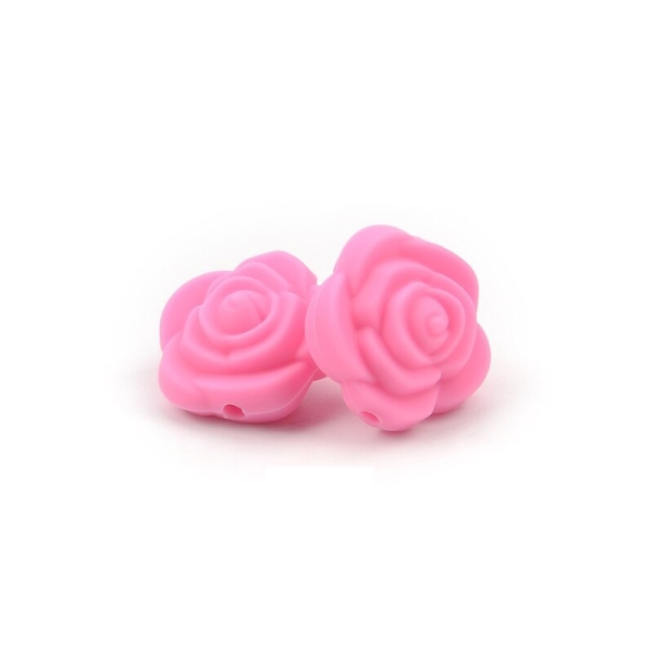 Perle Silicone Fleur Rose 20mm x 20mm Creation bijoux - Photo n°1