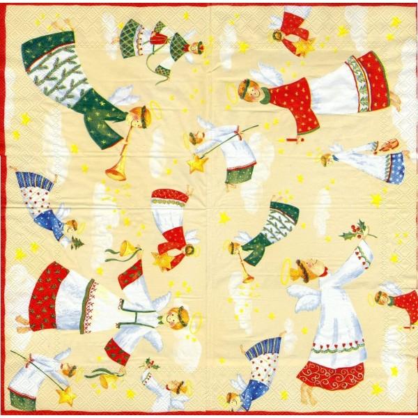 4 Serviettes en papier Anges du ciel Format Lunch Decoupage Decopatch L-401360 IHR - Photo n°1
