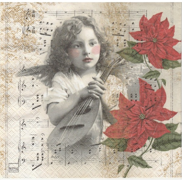 4 Serviettes en papier Ange Musique Poinsettia Format Lunch Decoupage Decopatch 611535 Home Fashion - Photo n°1