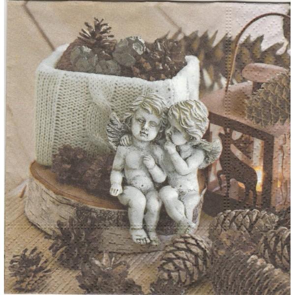 4 Serviettes en papier Anges Pomme de pin Format Lunch Decoupage 60786 Paper+Design - Photo n°1