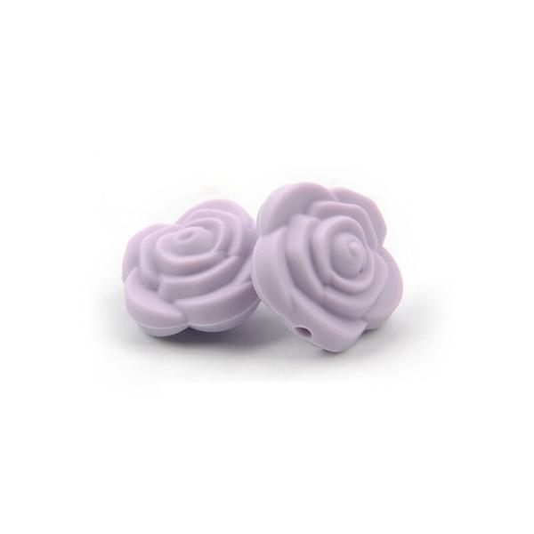 Perle Silicone Fleur Violet Clair 20mm x 20mm Creation bijoux - Photo n°1