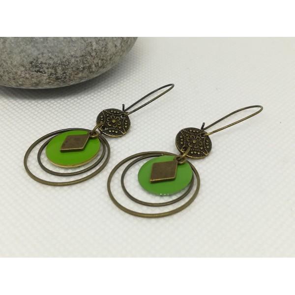 Kit de boucles d'oreilles anneaux fermés bronze et sequin émail vert - Photo n°2