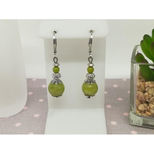Kit de boucles d'oreilles perles jade kaki et apprêts argent mat - Photo n°1