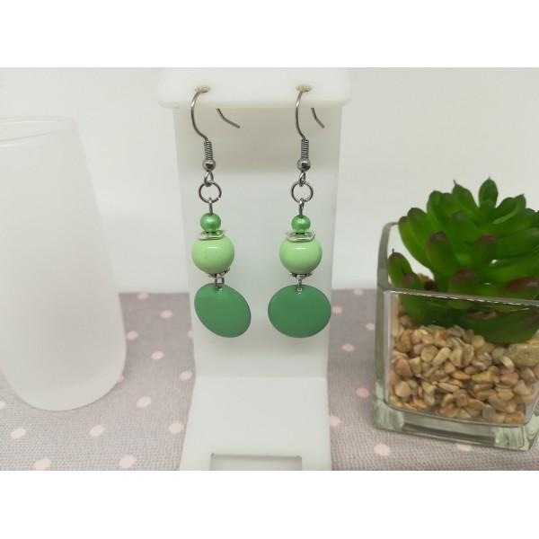 Kit boucles perles en verre cristal à facette et apprêts argent mat - Photo n°1