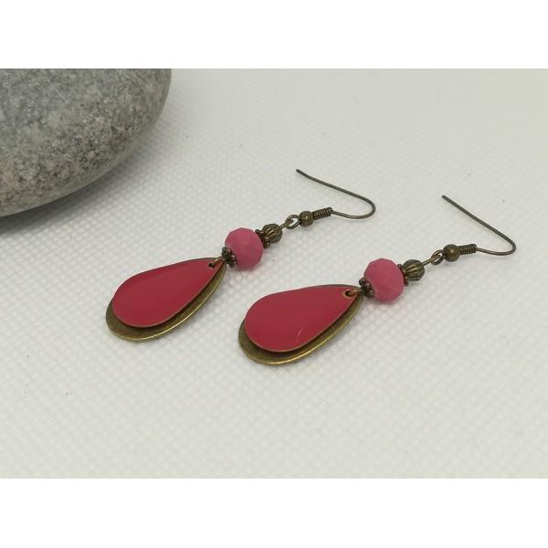 Kit boucles d'oreilles pendentif bronze et sequin émail rouge framboise - Photo n°2
