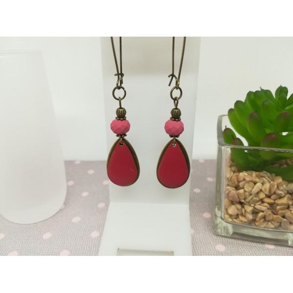 Kit boucles d'oreilles pendentif bronze et sequin émail rouge framboise - Photo n°1