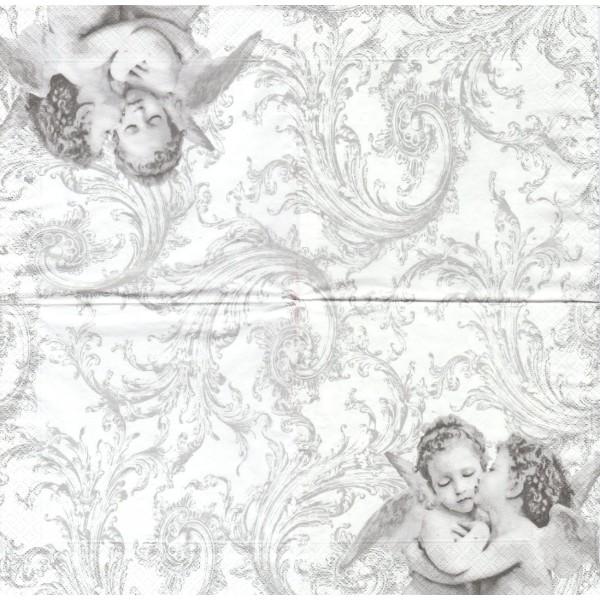 4 Serviettes en papier Anges Angelot Format Lunch Decoupage Decopatch SDL-001708 Paw - Photo n°1