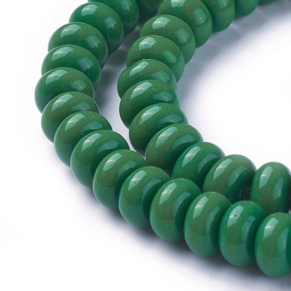 Perles en verre rondelle 8 mm vert foncé x 20 - Photo n°2