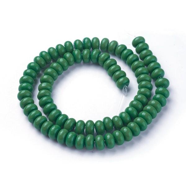 Perles en verre rondelle 8 mm vert foncé x 20 - Photo n°1