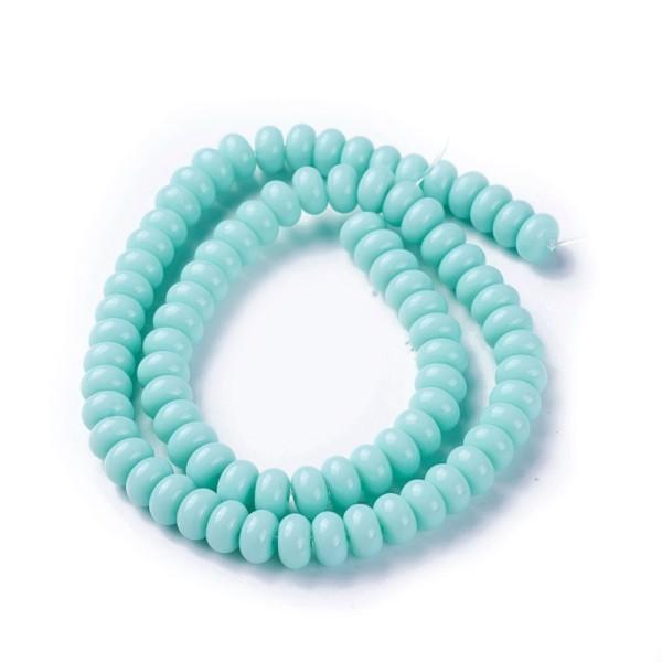 Perles en verre rondelle 8 mm bleu vert x 20 - Photo n°1